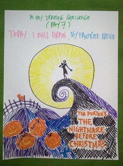 Today, I will draw MY FAVORITE MOVIE (Tim Burton's The Nightmare Before Christmas)