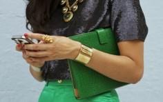 Emerald-ensemble-skirt-clutch