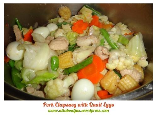 Filipino Style - Pork Chopsuey with Quail Eggs ( itlog ng pugo)